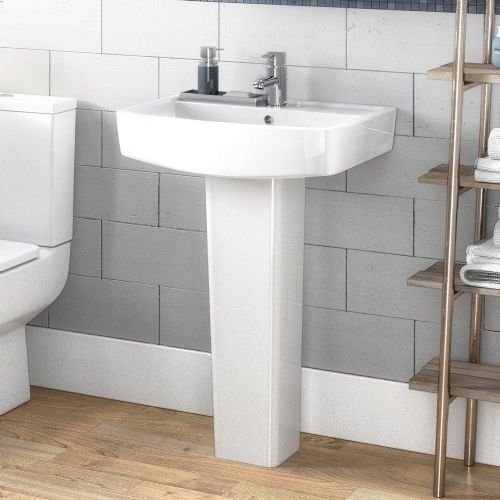 Euro 520mm Basin & Full Pedestal - 1 Tap Hole